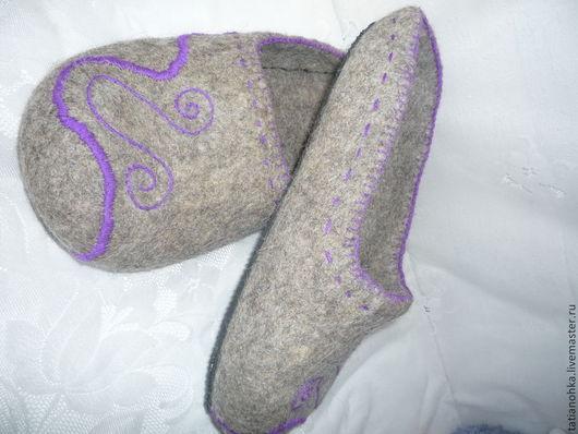 Обувь ручной работы. Ярмарка Мастеров - ручная работа. Купить Большие тапки Эко валяные. Handmade. Серый, тапки валяные