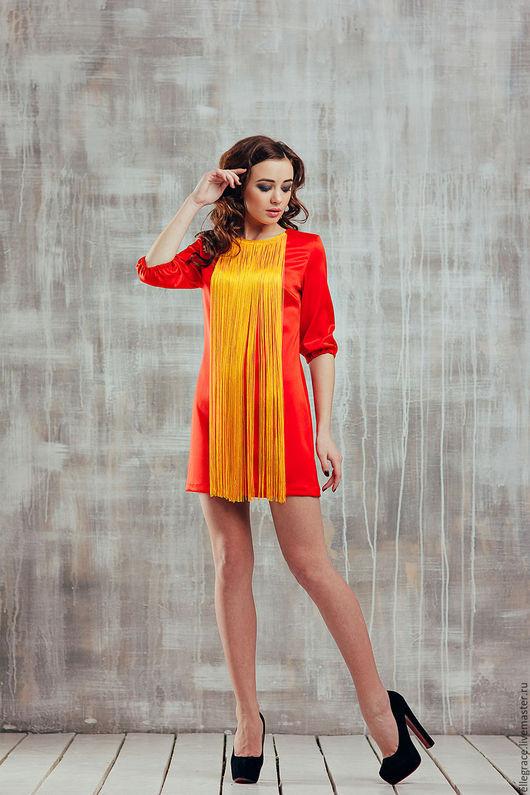 Платья ручной работы. Ярмарка Мастеров - ручная работа. Купить Платье с бахромой. Handmade. Ярко-красный, огненное платье