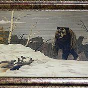 """Картины и панно ручной работы. Ярмарка Мастеров - ручная работа Картина """"Медведь шатун"""" шпон-маркетри. Handmade."""