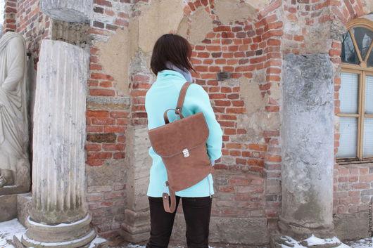 Рюкзаки ручной работы. Ярмарка Мастеров - ручная работа. Купить Рюкзак арт.293/рыже-коричневый+голубой. Handmade. Рыжий, сумка-рюкзак