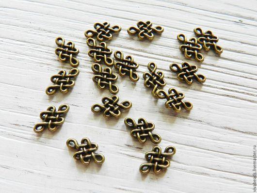 Коннектор металлический для украшений Китайский узел, размер  7x11.5x2 мм цвет БРОНЗА,  материал - сплав металлов (арт. 1819)