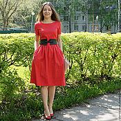 Одежда ручной работы. Ярмарка Мастеров - ручная работа Платье Татьянка, красный жаккард. Handmade.