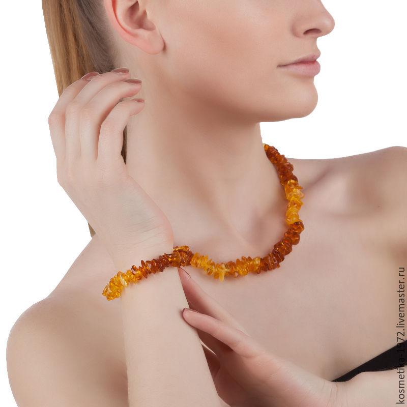 Beads amber bracelet, natural Baltic amber stones for women, Jewelry Sets, Kaliningrad,  Фото №1