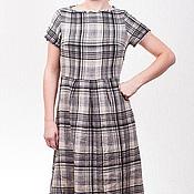 Одежда ручной работы. Ярмарка Мастеров - ручная работа Длинное льняное платье в клетку. Handmade.