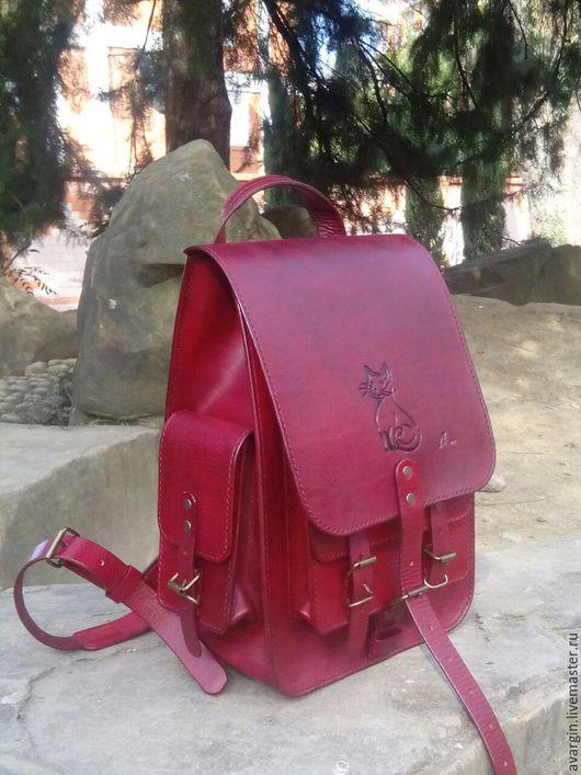 Рюкзаки ручной работы. Ярмарка Мастеров - ручная работа. Купить рюкзак из натуральной кожи. Handmade. Бордовый, ручная авторская работа