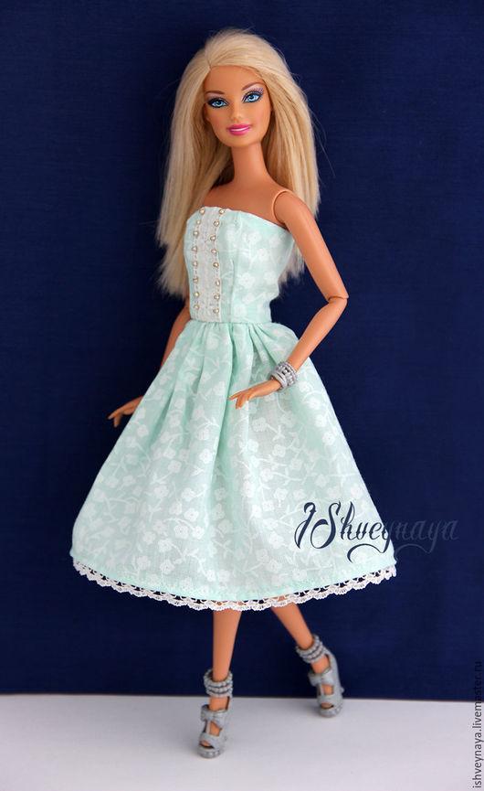 """Одежда для кукол ручной работы. Ярмарка Мастеров - ручная работа. Купить Платье для куклы """"Нежность"""". Handmade. Мятный, одежда для кукол"""