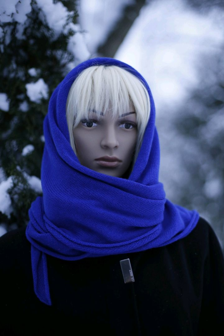 Kerchief-bactus 'cornflower' from 100 % cashmere Cariaggi, Scarves, St. Petersburg,  Фото №1