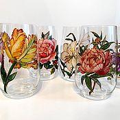 Посуда handmade. Livemaster - original item Set of glasses for soft drinks Flowers. Handmade.