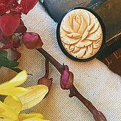 Винтаж handmade. Livemaster - original item Rose. Scarf Clip/Decoration. Japan. bone.. Handmade.