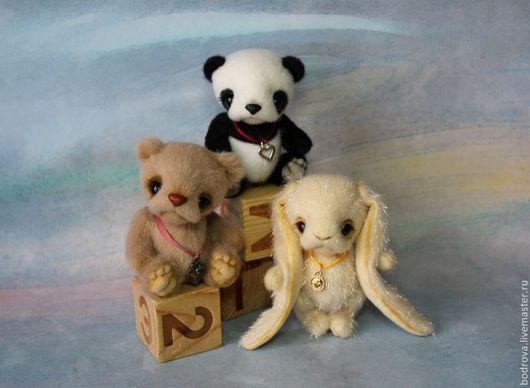 Мишки Тедди ручной работы. Ярмарка Мастеров - ручная работа. Купить Панда, мишка, зайка (10 см). Handmade. Разноцветный