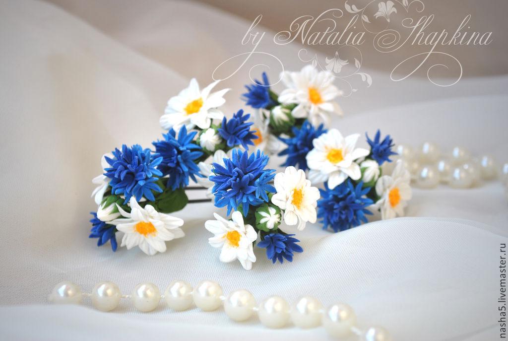 Wedding Jewelry handmade. Livemaster - handmade. Buy Headpin 'wild bunch' of cornflowers and daisies.Blue, pins