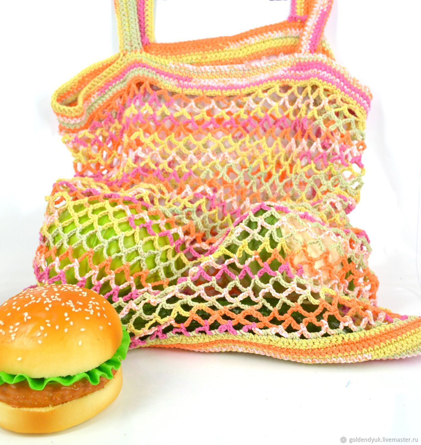 Shoppers: Bag-string bag, knitted from cotton, multi-colored, String bag, Moscow,  Фото №1