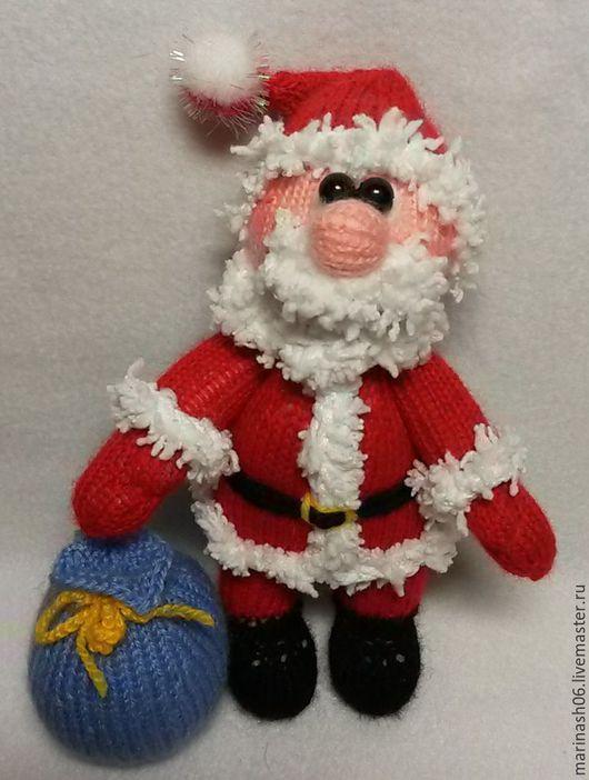 Человечки ручной работы. Ярмарка Мастеров - ручная работа. Купить Дед морозик. Handmade. Бордовый, подарок на новый год, полушерстяная пряжа