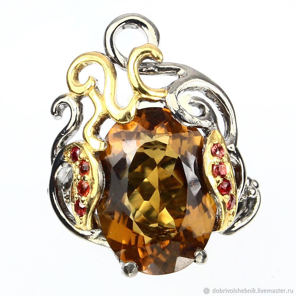 Ring 'Dance of the Flame' with cognac quartz, Rings, Novaya Usman,  Фото №1