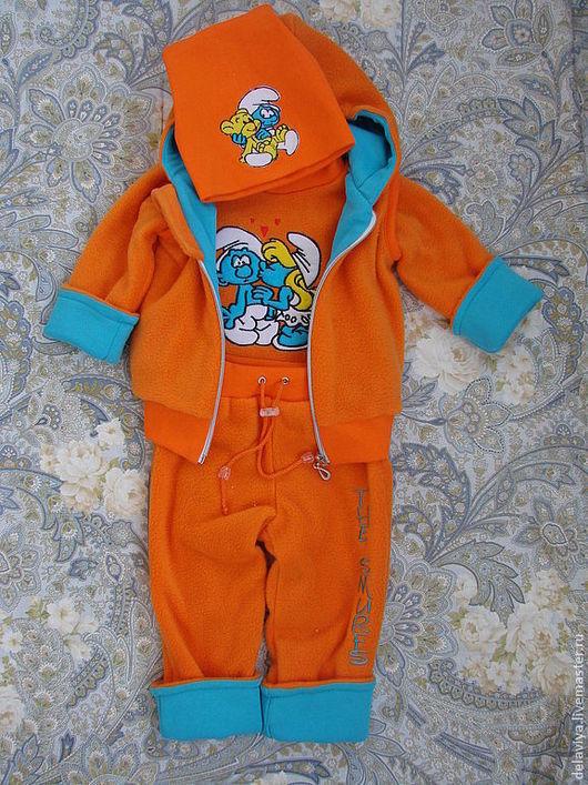 """Одежда унисекс ручной работы. Ярмарка Мастеров - ручная работа. Купить Теплый комплект-вырастайка для  малыша """"Смурфики""""-2 от Делавьи. Handmade."""