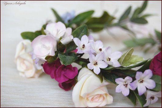 украшение для невесты, свадебные цветы, цветы в прическу, венок, цветы в прическу, свадебный венок, цветы для невесты, свадебный аксессуар, цветы из полимерной глины, авторское украшение, цветы из холодного фарфора, розы, фрезии, гортензия