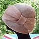 Шляпка клош  с ассиметричными полями цвета чайной розы из синамей (пальмовой соломки). Легкая летняя шляпка.
