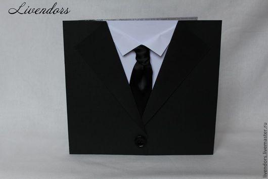 """Открытки для мужчин, ручной работы. Ярмарка Мастеров - ручная работа. Купить Открытка """"Пиджак с галстуком"""". Handmade. Черный, открытка для мужчины"""