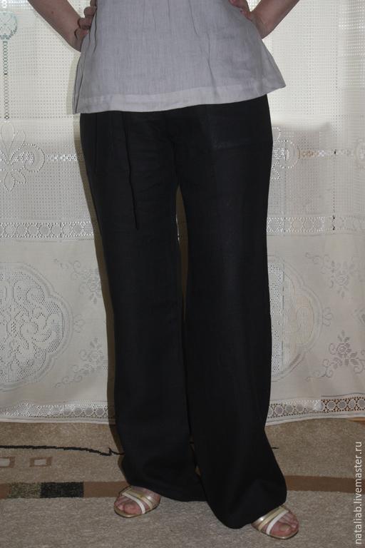 """Брюки, шорты ручной работы. Ярмарка Мастеров - ручная работа. Купить Льняные брюки """"Черные"""". Handmade. Черный, льняная одежда"""