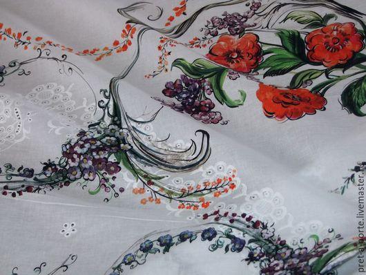 Шитье ручной работы. Ярмарка Мастеров - ручная работа. Купить D&G хлопок с вышивкой, Италия. Handmade. Итальянские ткани