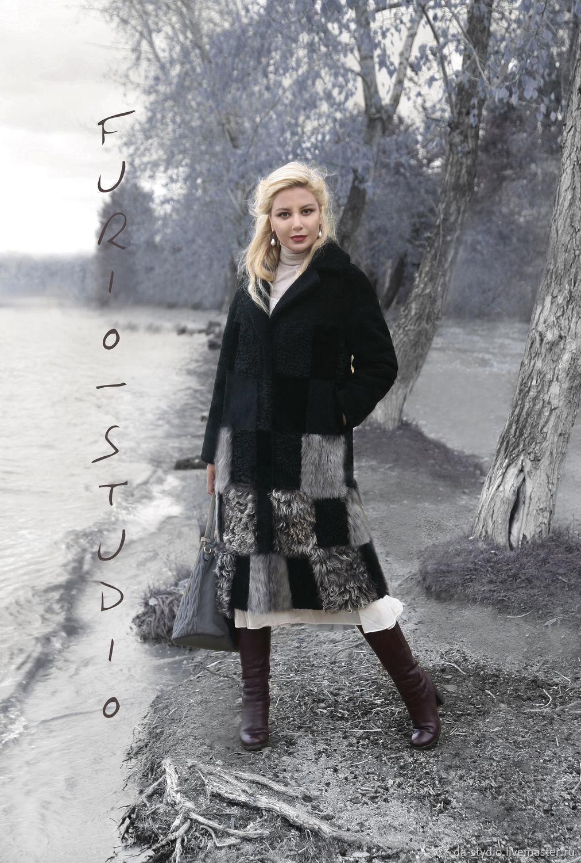 Лёгкая свободная шубка (Меховое Пальто) из разнофактурной овчины, Шубы, Екатеринбург,  Фото №1