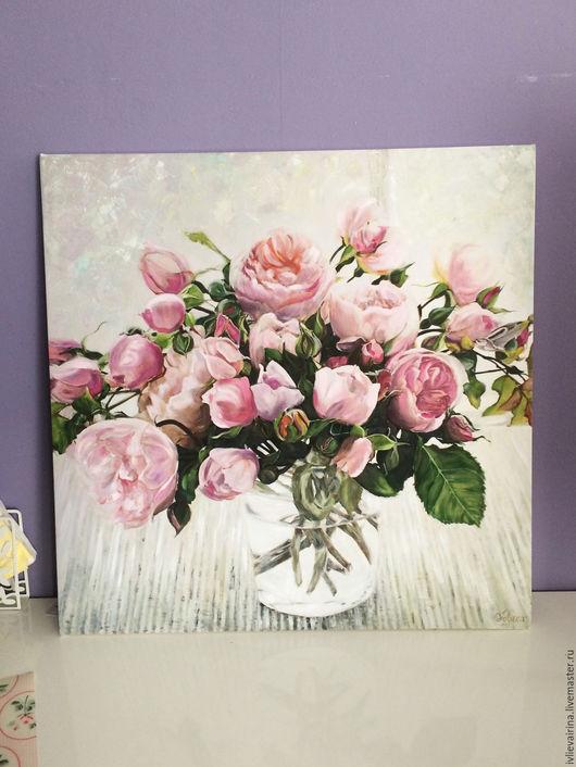 Картины цветов ручной работы. Ярмарка Мастеров - ручная работа. Купить Авторское жикле Пионовидные розы в банке 70х70 см. Handmade.