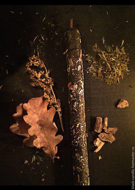 Эзотерические аксессуары ручной работы. Ярмарка Мастеров - ручная работа. Купить Катаная восковая свеча - программа с травами. Handmade. Черный