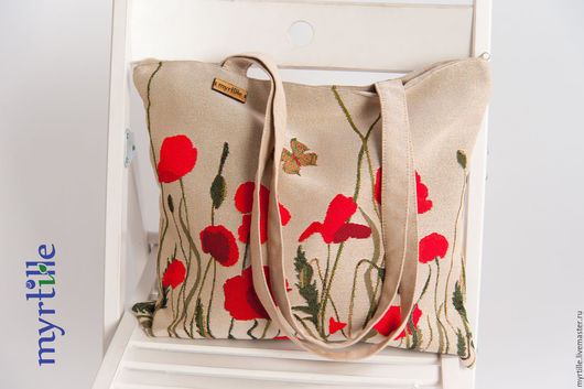 Женские сумки ручной работы. Ярмарка Мастеров - ручная работа. Купить Маки (пляжная сумка). Handmade. Ярко-красный