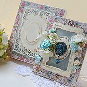 Открытки ручной работы. Ярмарка Мастеров - ручная работа открытка в коробочке в цветочек с большой брошью. Handmade.