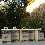 Винтаж handmade. Livemaster - original item A set of porcelain jars for bulk products, 5 PCs., France. Handmade.