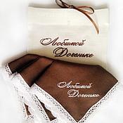 Аксессуары handmade. Livemaster - original item Handkerchief women`s Batiste brown monogram. Handmade.