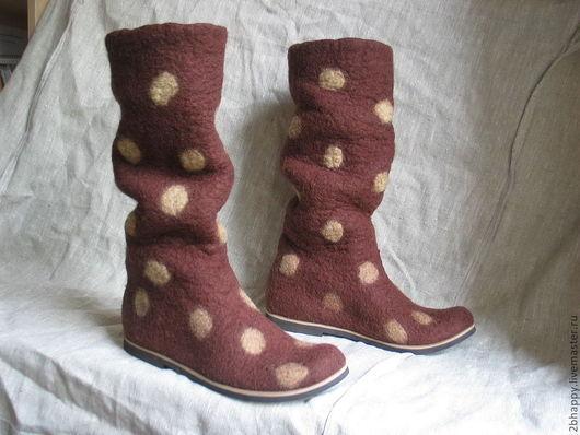 Обувь ручной работы. Ярмарка Мастеров - ручная работа. Купить Валяные сапожки CHERCHEZ LA FEMME!. Handmade. Коричневый, резина