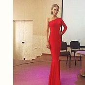 Одежда ручной работы. Ярмарка Мастеров - ручная работа Длинное вечернее красное платье на одно плечо. Handmade.
