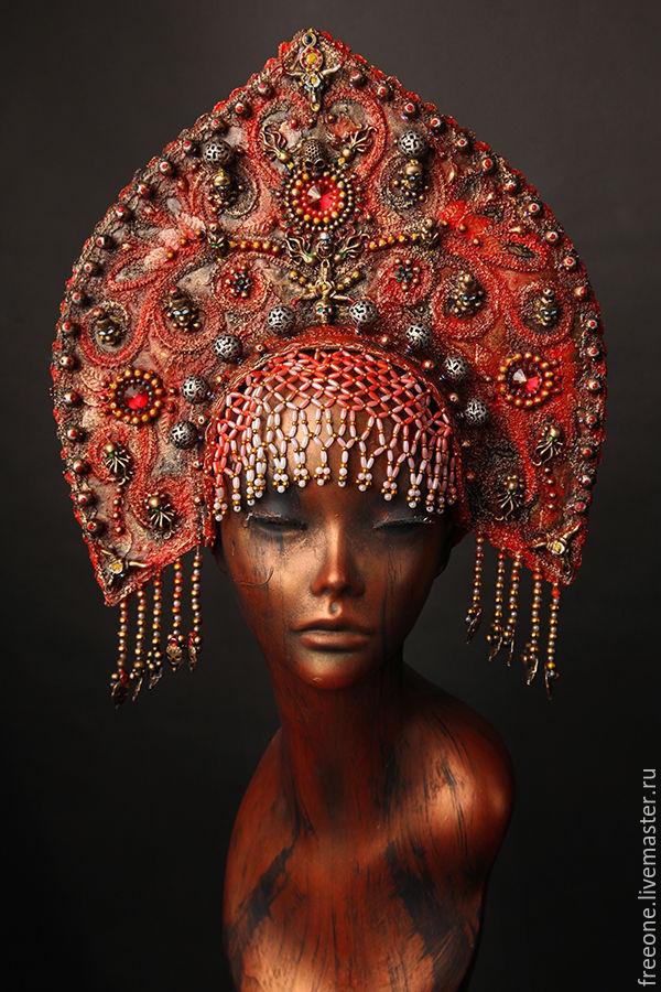 Кокошник. Красный, Народные украшения, Москва, Фото №1