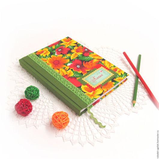 """Блокноты ручной работы. Ярмарка Мастеров - ручная работа. Купить Блокнот для записей """"Летний"""". Handmade. Зеленый, красный, кружево хлопок"""