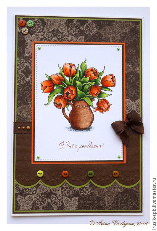 Открытки на день рождения ручной работы. Ярмарка Мастеров - ручная работа. Купить Открытка с оранжевыми тюльпанами к дню рождения. Handmade.