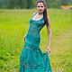 """Платья ручной работы. Ярмарка Мастеров - ручная работа. Купить Платье вязаное """"Эсмеральда"""". Handmade. Зеленый, эксклюзив, зеленый сарафан"""
