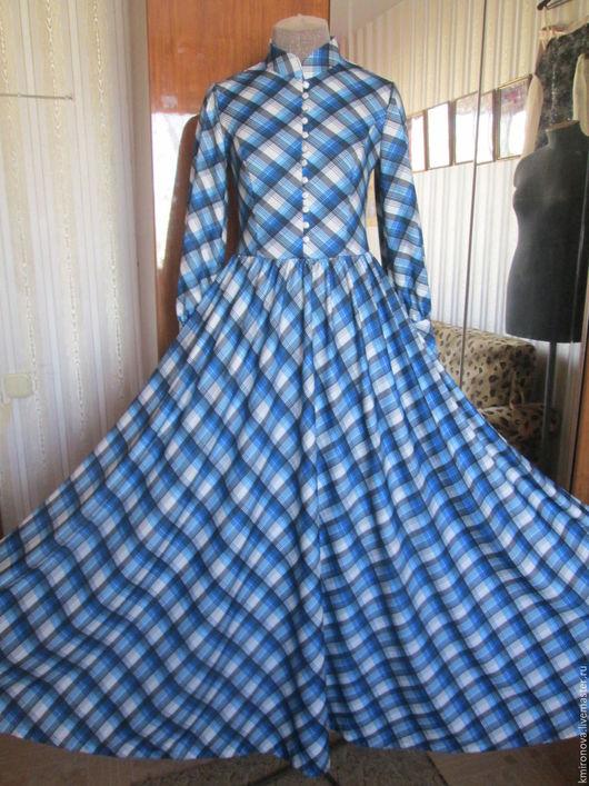 Платья ручной работы. Ярмарка Мастеров - ручная работа. Купить Платье макси из джерси в клетку. Handmade. Синий, платье из джерси