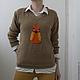 Кофты и свитера ручной работы. Ярмарка Мастеров - ручная работа. Купить Пуловер с совой. Handmade. Бежевый, джемпер вязаный, эксклюзив