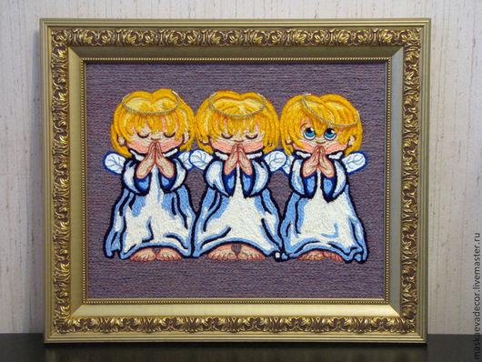 Люди, ручной работы. Ярмарка Мастеров - ручная работа. Купить Картина вязанная из пряжи Ангелочки размер в раме 54 х 64. Handmade.