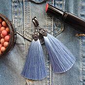 Украшения ручной работы. Ярмарка Мастеров - ручная работа Серьги-кисти светло-синие. Handmade.