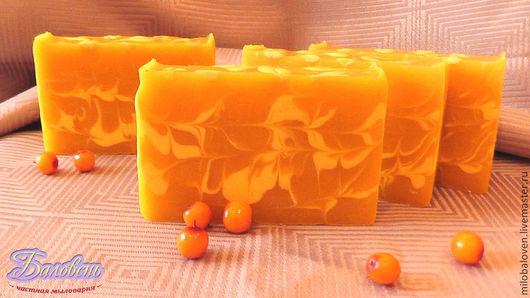 """Мыло ручной работы. Ярмарка Мастеров - ручная работа. Купить """"Облепиха"""" натуральное мыло с нуля. Handmade. Оранжевый, мыло с нуля"""