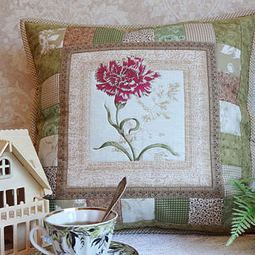 Для дома и интерьера handmade. Livemaster - original item Patchwork pillow case of Old herbarium.Carnation.. Handmade.