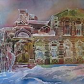 Картины и панно ручной работы. Ярмарка Мастеров - ручная работа Батик панно Старый дом  64х40. Handmade.
