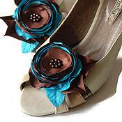 """Украшения ручной работы. Ярмарка Мастеров - ручная работа Клипсы для туфель """"Бирюза и Шоколад"""". Handmade."""