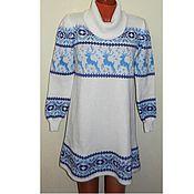 Платье с оленями и норвежским орнаментом Снежинка.