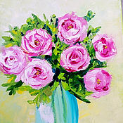 Картины и панно handmade. Livemaster - original item Oil painting. Flowers. Roses in a vase. Handmade.