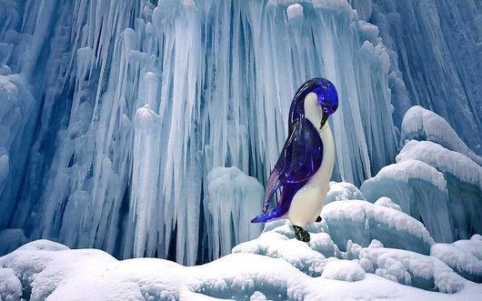 Миниатюра ручной работы. Ярмарка Мастеров - ручная работа. Купить стеклянная фигурка пингвин Тото и Лала. Handmade. Пингвин, лед