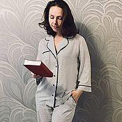 Пижамы ручной работы. Ярмарка Мастеров - ручная работа Классическая пижама, пижама в горошек. Handmade.