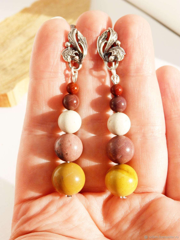 Earrings mookaite Eleanor (near breed), Earrings, Gatchina,  Фото №1